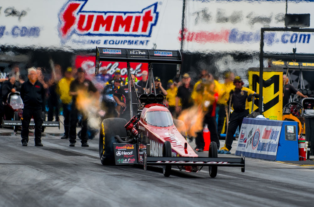 """80+ year old Chris """"The Greek"""" Karamesines qualified 14th in the tough 16 car Top Fuel field. Karamesines has been racing Top Fuel since the 1950's."""