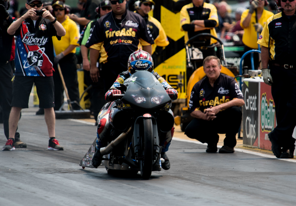 Luling native Angelle Sampey pushed her Pro Stock Motorcycle to the #14 qualifying position posting a best run of 6.91 second at 194.44 mph.