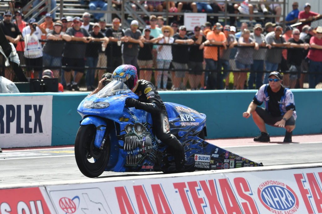 Jefferson Parish firefighter and former NHRA Pro Stock Motorcycle Champion LE Tonglet launches off the starting line in route to a victory at the 2018 NHRA AAA Nationals in Ennis, TX