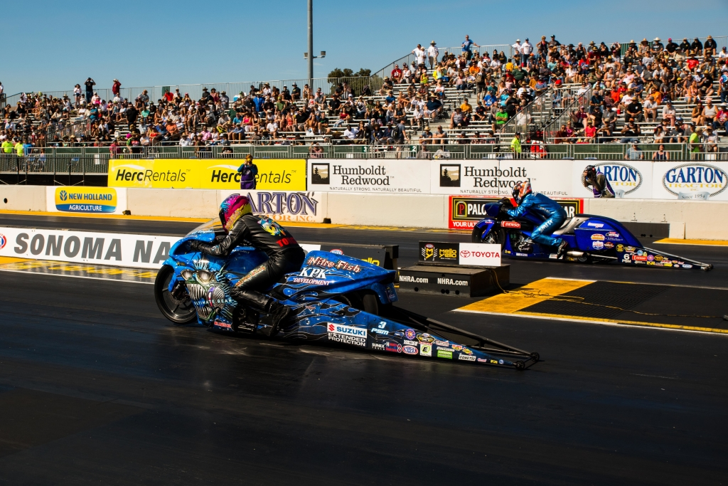 Eventual winner LE Tonglet taking on Matt Smith during qualifying for the Toyota NHRA Sonoma Nationals