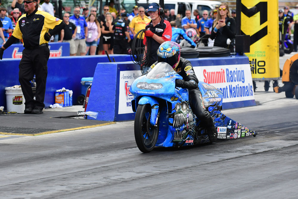 Jefferson Parish firefighter and Metairie resident LE Tonglet ran his Suzuki Pro Stock Motorcycle to a semi-final finish