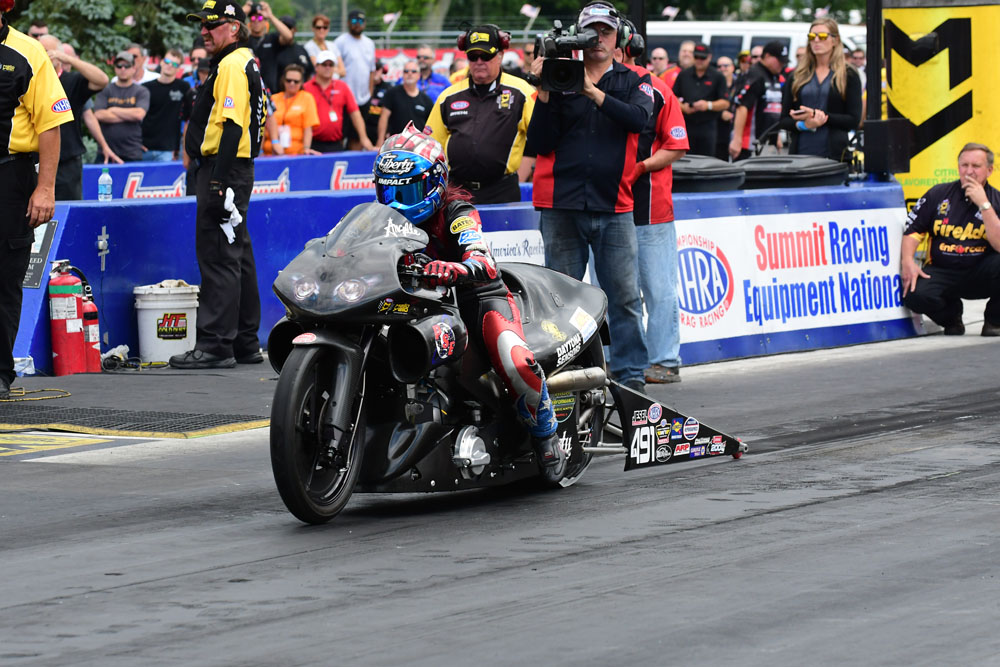 Former Pro Stock Motorcycle World Champ and Luling native Angelle Sampey bowed out in round two of the competition at the Summit Racing Equipment NHRA Nationals in Norwalk, OH