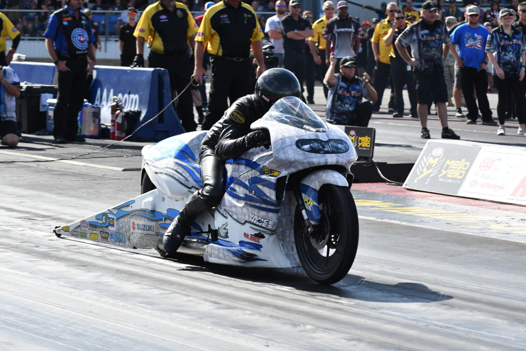 Former NHRA Pro Stock Motorcycle Champion and Cut Off, LA resident Jerry Savioe on his White Alligator Racing Suzuki. Jerry would finish the day in the Runner Up position, losing to teammate LE Tonglet in the final.
