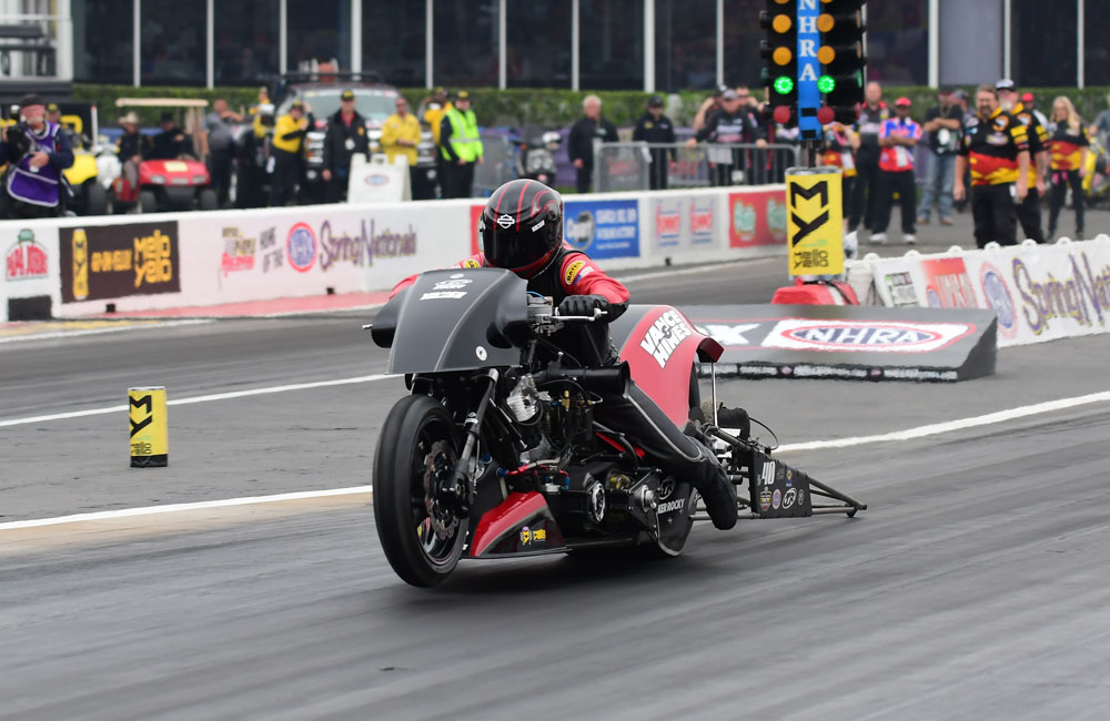 Doug Vancil rode his Harley Davidson to victory in the Top Fuel Harley category with a run of over 230 mph in the quarter mile