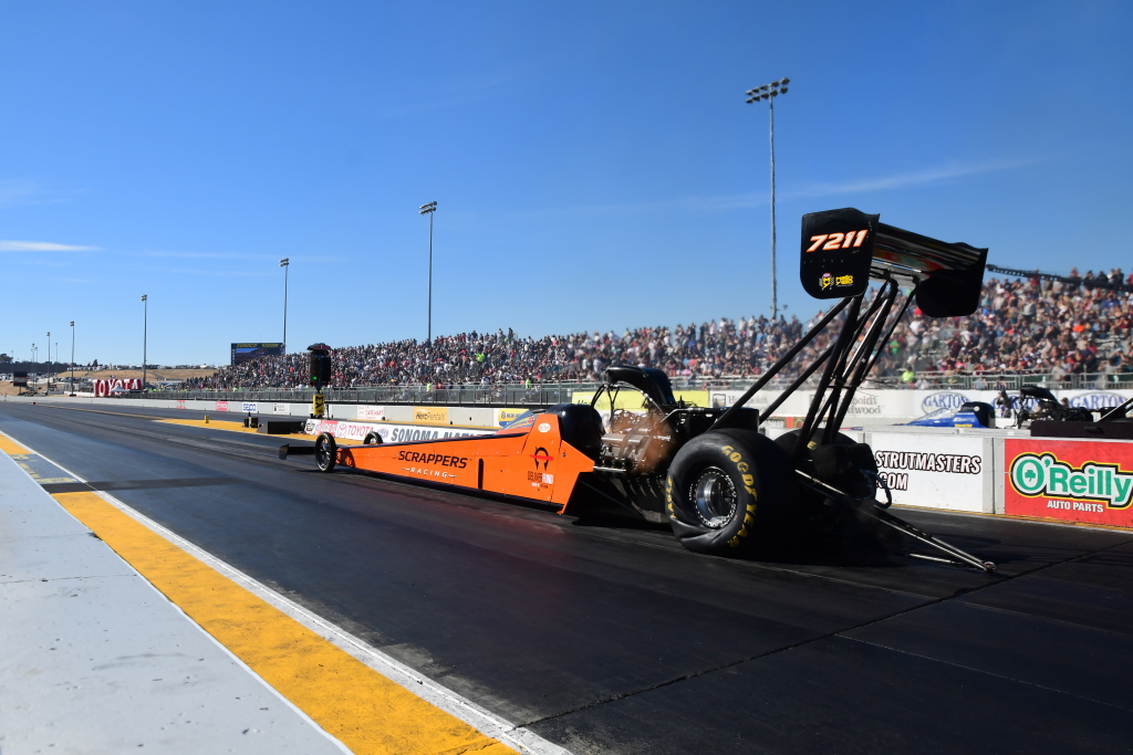 California's Mike Salinas off on a 300 mph blast in his Scrappers Top Fuel entry