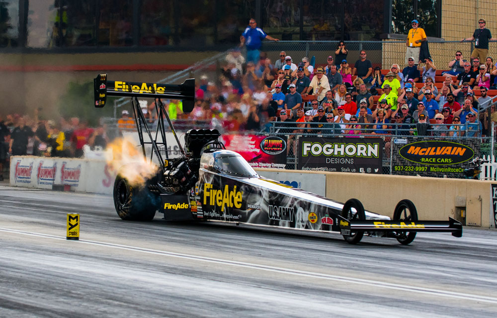 Leah Pritchett would race to a semi-final finish in her FireAde Top Fuel dragster after qualifying 8th at over 324 mph.