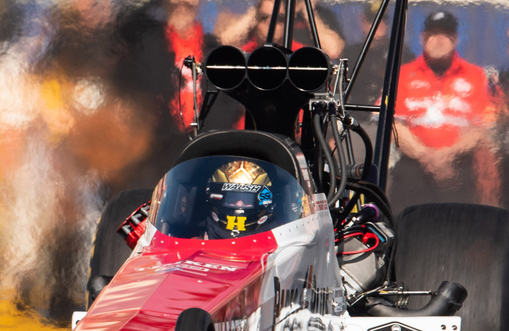 Clay Millican drove his Top Fuel dragster to the number 10 qualifying position with a best of 3.759 at 320 mph.