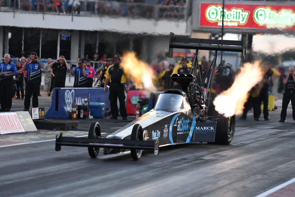 Scott Palmer qualified his Cat Spot top fuel dragster in the number 12 spot with a 3.82 second run at 326 mph