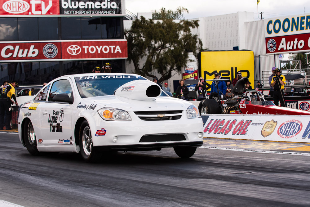 Jarrod Granier of Labadieville, LA suffered a round one loss in Competition Eliminator in his 2008 Chevy Colbalt .