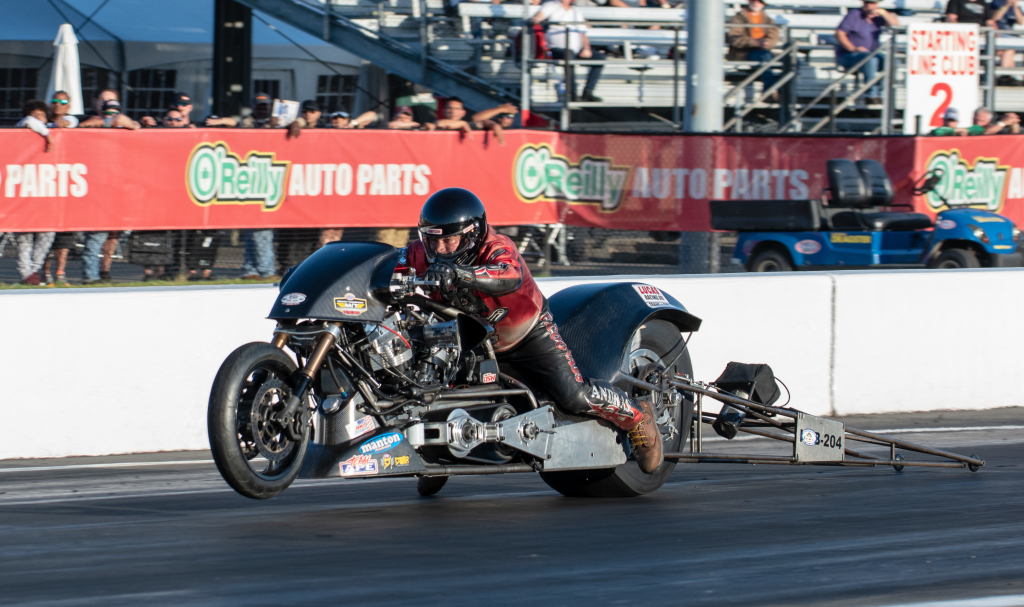 Morgan City's Randal Andras qualified 5th in Top Fuel Harley but fell in round #1 to Beau Lane.