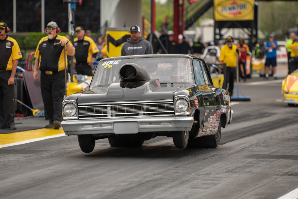 Cole Cummings of Hammond drove his '66 Chevy II to a second round finish in Super Gas
