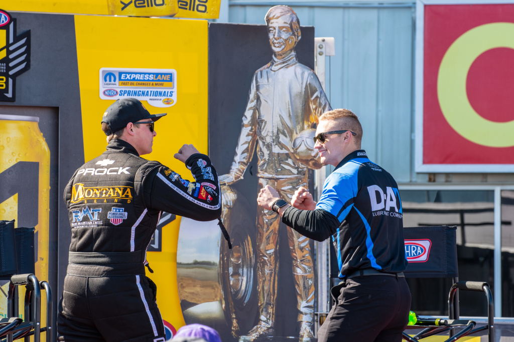 """Austin Prock (l) and Jordan Vandergriff (r) """"square off"""" during pre-race ceremonies. Prock would win a close first round matchup with Vandergriff."""