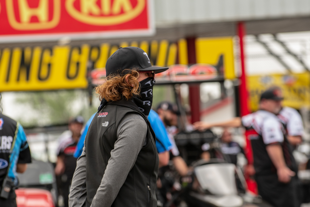 """""""Momma"""" Kay Torrence is prepared for her husband Billy and son Steve to make qualifying runs in Top Fuel"""