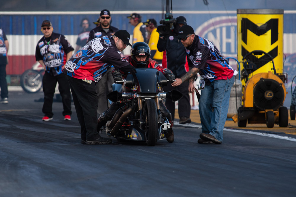 Morgan City resident Randal Andras qualified his Top Fuel Harley for the tough, eight bike field.