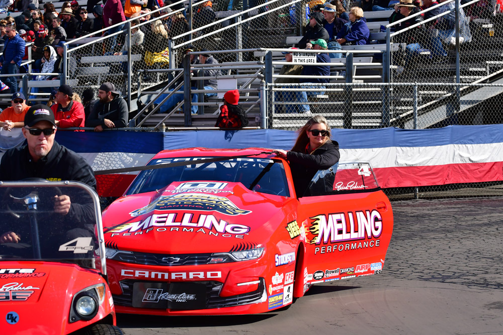 Former Pro Stock champ and New Orleans resident Erica Enders heading back from the scales in preparation for a qualifying run. Enders would record a semi-final finish after qualifying #2 in the 16 car field.